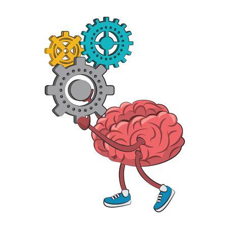 Cerebro con zapatos sosteniendo engranajes piezas dibujos animados vector ilustración diseño gráfico
