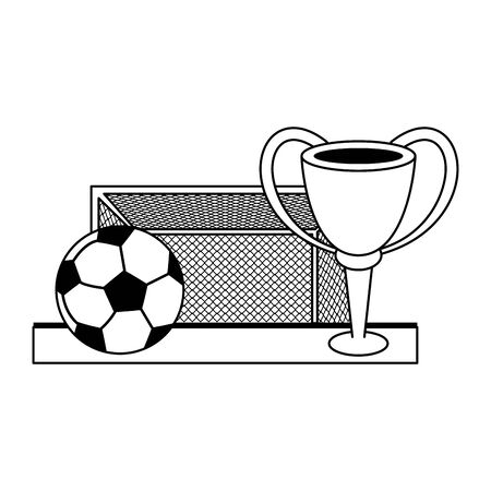 Soccer sport game goal ball and trophy cup isolated vector illustration graphic design