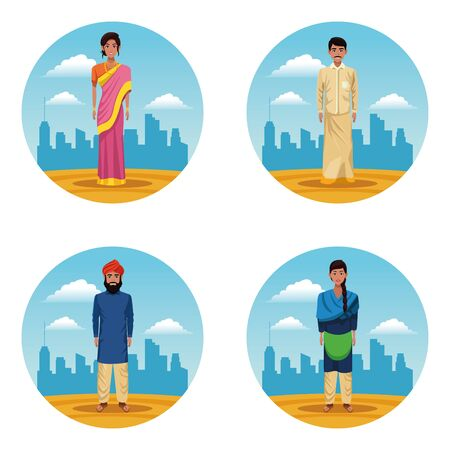 indian women and men indian people on desert set of round icons vector illustration graphic design