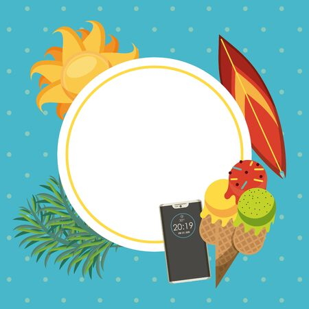 Summer blank frame card with cartoons on colorful background vector illustration graphic design