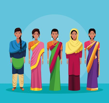 indian women group of india wearing traditional hindu clothes on blue background vector illustration graphic design Stock Illustratie