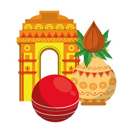 indian building monuments with gateway of india, cricket ball and flower vase with lotus blossom icon cartoon vector illustration graphic design