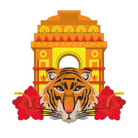 indian building monuments with gateway of india, bengal tiger and lotus flower icon cartoon vector illustration graphic design Illustration