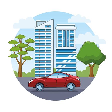 Modern sedan red car vehicle sideview riding in the city, urban background vector illustration graphic design  イラスト・ベクター素材
