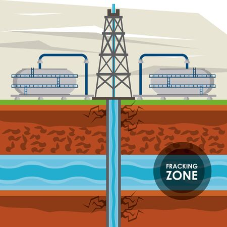 Fracking zone, oil pump with tank extracting petroleum from suboil with pipes. vector illustration graphic design Illustration