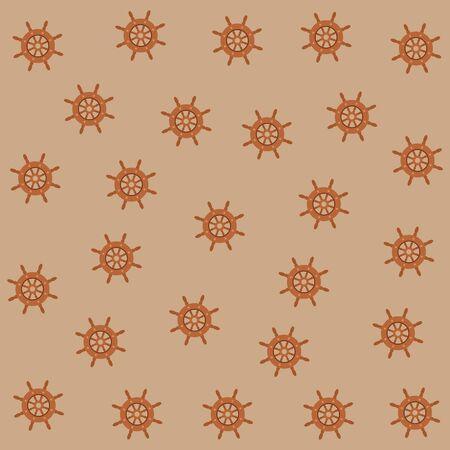 Ship steering wheel pattern background vector illustration graphic design