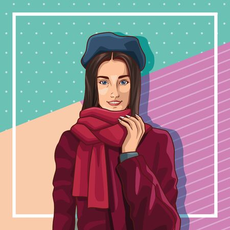 Pop art young french woman with beret and scarf on colorful pink and blue pastel colors background frame ,vector illustration graphic design.