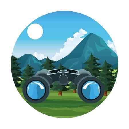 Travel and adventure binoculars at nature round icon vector illustration graphic design. Stock Illustratie