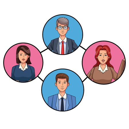 group of four business people man with glasses and woman with short hair avatar cartoon character profile picture in round icon vector illustration graphic design Banque d'images - 129655527