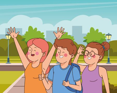 Teenagers friends smiling and greeting with cool clothes and accesories in the city park scenery, urban scenery ,vector illustration. Vektorgrafik