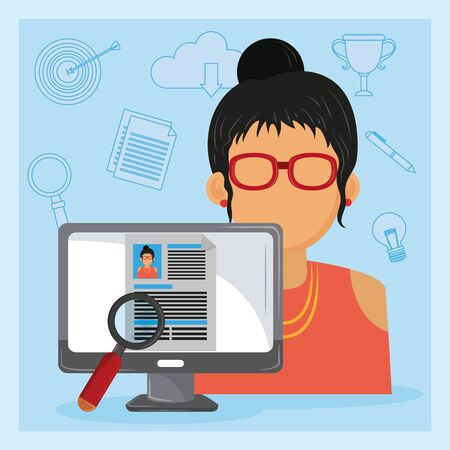 Job interview computer with checking businesswoman worker CV profile ,vector illustration.