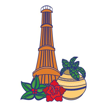 Indian patriotic emblems cartoons tower and lotus flowers isolated vector illustration graphic design Illustration