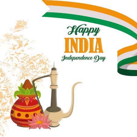 India independence day card with patriotic monuments and emblems, poster holiday vector illustration graphic Ilustração