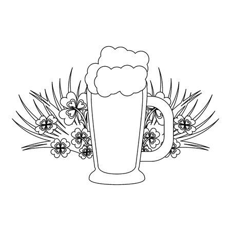 saint patrick day ireland tradition green beer glass with clovers cartoon vector illustration graphic design Illusztráció