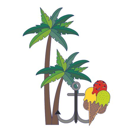 Summer and travel anchor and ice cream with tree palms cartoons vector illustration graphic design Иллюстрация