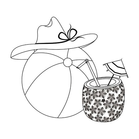 summer beach and vacation with pineapple beverage, beach balloon, beach hat icon cartoons in black and white vector illustration graphic design