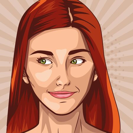 Pop art red hair woman face on colorful background ,vector illustration.