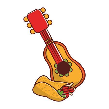 mexico culture and foods cartoons mariachi hat and burrito vector illustrationgraphic design