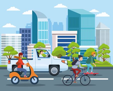 City transportation and mobility, citizens riding differents vehicles on the street with cityscape view cartoons. vector illustration graphic design.