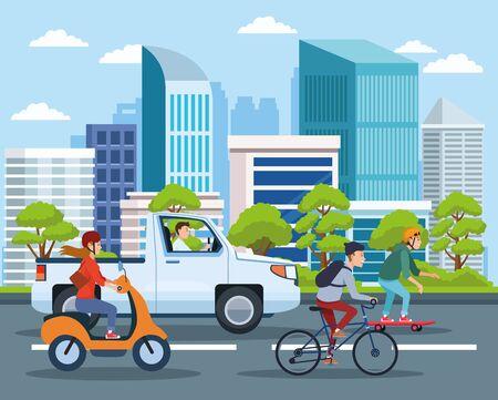 Transporte y movilidad de la ciudad, ciudadanos que viajan en diferentes vehículos en la calle con dibujos animados con vistas al paisaje urbano. diseño gráfico de ilustración vectorial.
