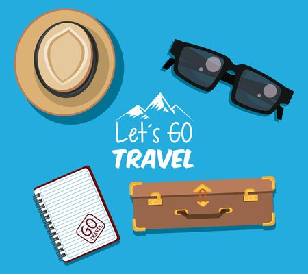 travel journey and tourism with panama hat, sunglasses, diary, briefcase and lets go travel sign with colorful background vector illustration graphic design  イラスト・ベクター素材