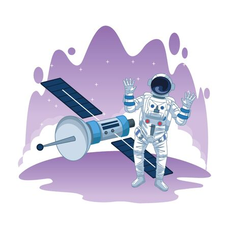 space exploration satellite and astronaut with hands up with water colorful background icon cartoon vector illustration graphic design