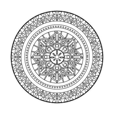 tradicional indian embroidery blanket with mandala shape icon cartoon vector illustration graphic design Иллюстрация