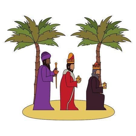 merry christmas nativity christian manger catholic religion december biblical wise men scene cartoon vector illustration graphic design