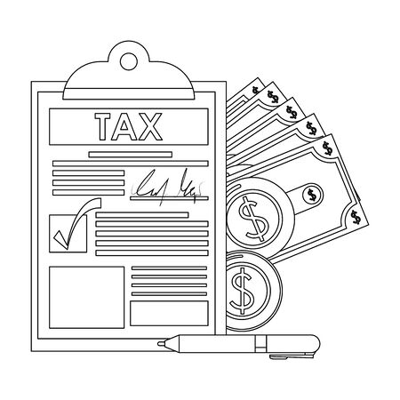 state government taxes, business and personal saving money finances elements cartoon vector illustration graphic design Illustration