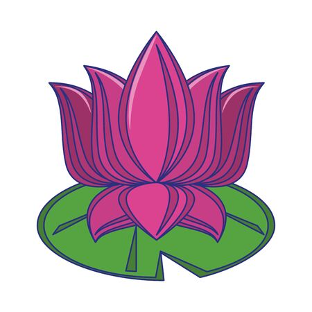Lotus flower on leaf cartoon isolated vector illustration graphic design