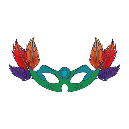 party mask festive carnival costume celebration decoration with feathers cartoon vector illustration graphic design Illusztráció
