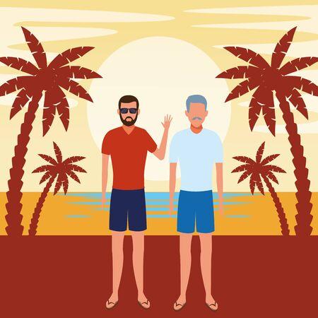 summer vacation people family at beach cartoon vector illustration graphic design Stock Illustratie