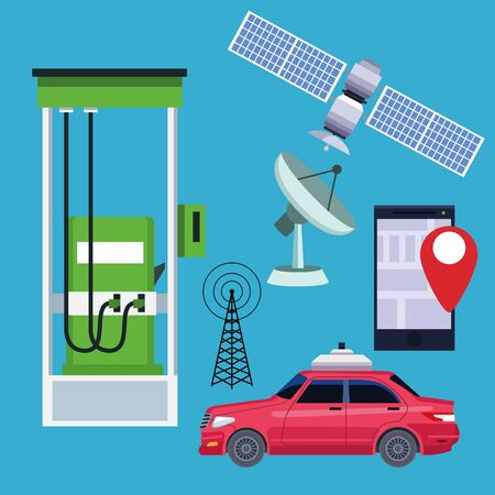 gps location car service concept with satelite and cellphone with location symbol in gas station icon cartoon vector illustration graphic design  イラスト・ベクター素材