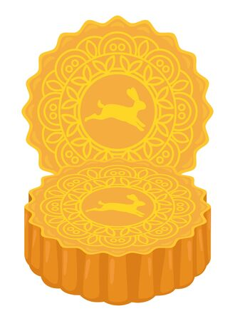 Delicious mooncakes mid autumn food ,vector illustration graphic design.