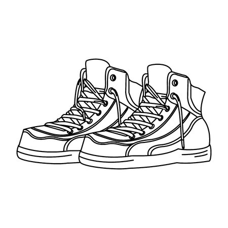 retro vintage pop art boots cartoon vector illustration graphic design Standard-Bild - 129655945