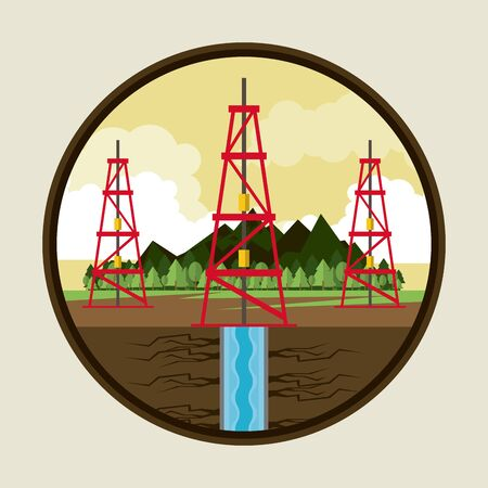 Fracking zone, oil pump extracting petroleum from suboil with pipes. round icon vector illustration graphic design Ilustração