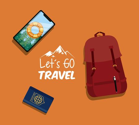 travel journey and tourism with passport, smartphone with a bouysaver imagen, bag and lets go travel sign with colorful background vector illustration graphic design  イラスト・ベクター素材