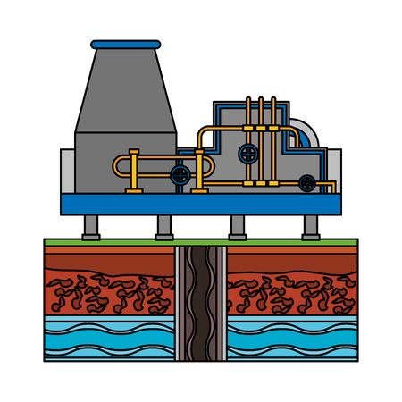 oil refinery gas factory industry petrochemical petroleum plant pipeline and destillation tank cartoon vector illustration graphic design