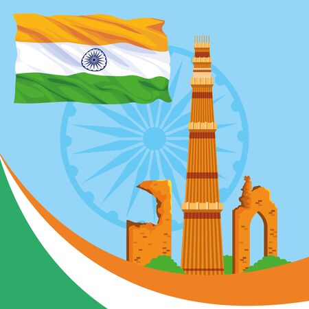 India national monuments in the city with flag frame vector illustration graphic design
