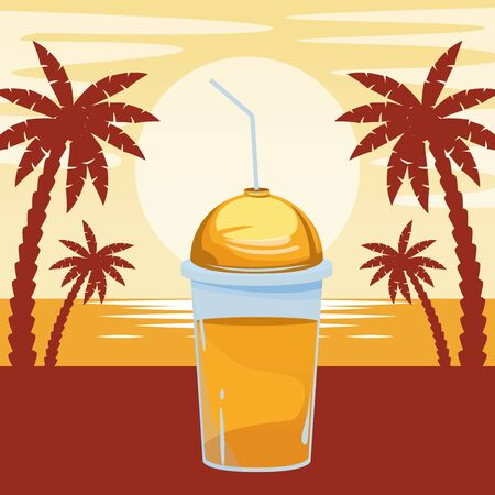 fruit tropical smoothie drink with dome lid and straw icon cartoon over beach sunset landscape vector illustration graphic design