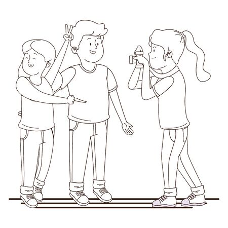 Teenagers friends taking photos with camera ,vector illustration graphic design.