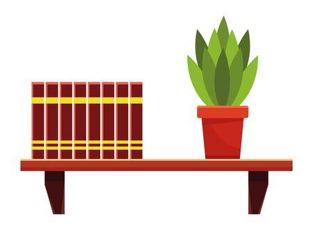 Books and plant pot on bookshelf vector illustration graphic design