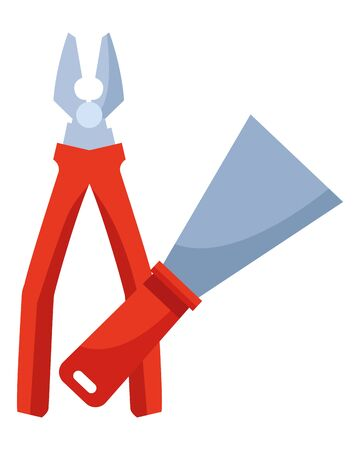 Construction tools spatula and plier crossed cartoon symbol vector illustration graphic design. 向量圖像