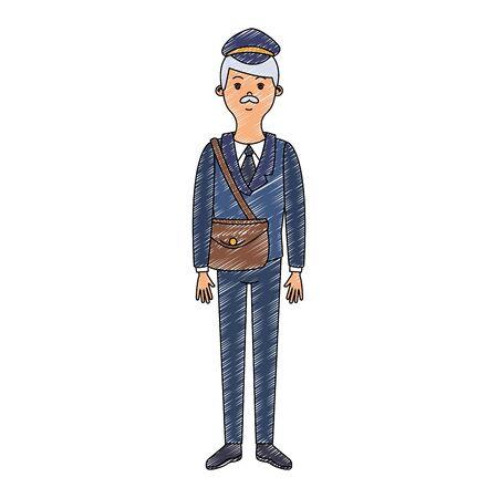 Deliveyr postman cartoon vector illustration graphic design