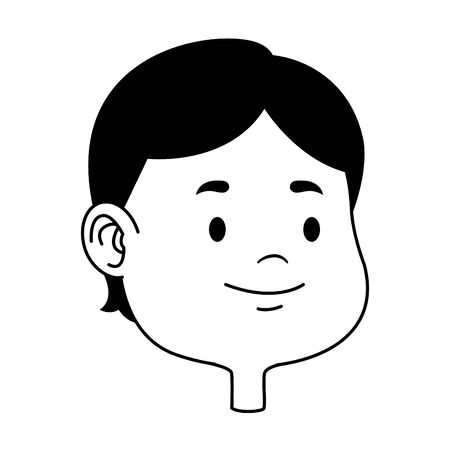 Cute young boy smiling face head cartoons ,vector illustration graphic design. Stock Illustratie