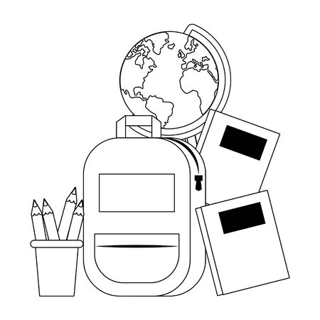 Back to school education backpack and books with pencils in cup and world globe cartoons vector illustration graphic design