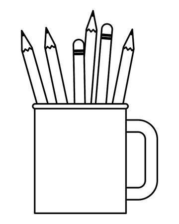 Wooden pencils with eraser in cup ,vector illustration graphic design.