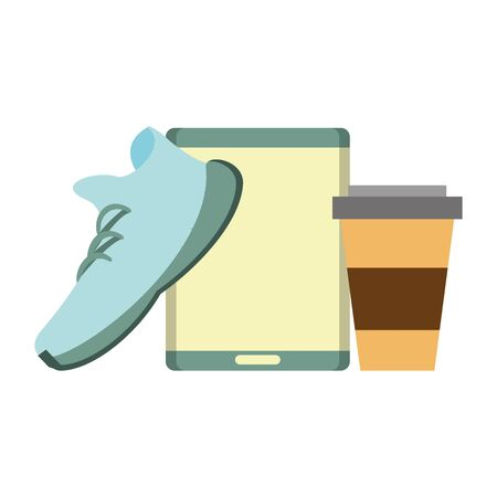 hipsters accessories for the holidays and coffee cup music player and sneakers isolated symbol Vector design illustration Banque d'images - 129578836