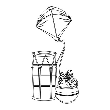 Indian tabla drums with lotus flower and kite vector illustration graphic design