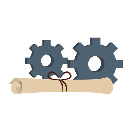 gears support technology industry with factory plans cartoon vector illustration graphic design Banque d'images - 129578843